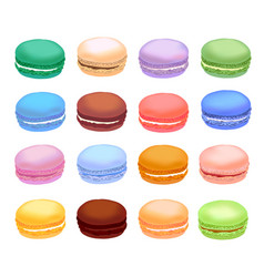 Different types of macaroons set of different vector
