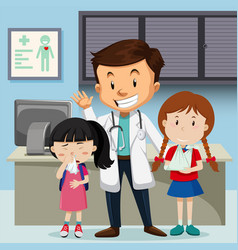 doctor and children at hospital vector image