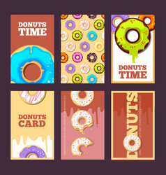 Donuts cards glazed sweet hot ring holiday cakes vector