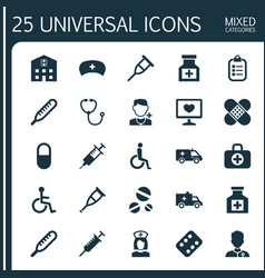 Drug icons set collection of disabled ache vector