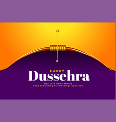 Dussehra festival wishes card with realistic bow vector