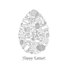 Easter invitation card of egg from doodle eggs vector