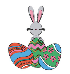 Easter rabbit with festive egg traditional vector
