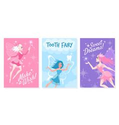 fairy card cute little tooth fairy vector image