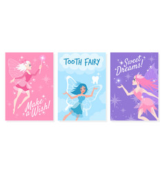 fairy card cute little tooth fairy with vector image