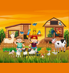 farm in nature scene with animal farm vector image