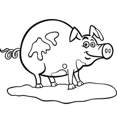 farm pig cartoon for coloring book vector image
