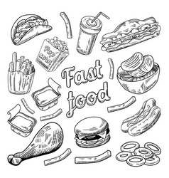 Fast food restaurant menu hand drawn burger vector