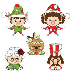 Festive Holiday Characters Set vector image