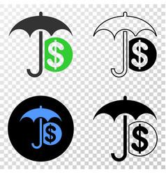 financial umbrella eps icon with contour vector image