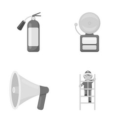 Fire extinguisher alarm megaphone fireman on vector