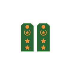 Flat icon of green military shoulder straps vector