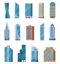 flat skyscrapers exterior modern city vector image
