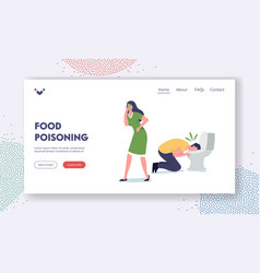 Food poisoning landing page template sick vector