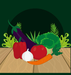 fresh vegetables cartoon vector image