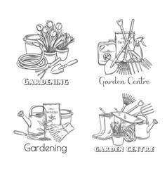Gardening tools outline hand drawn vector