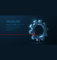 Gears abstract wireframe two gear 3d vector