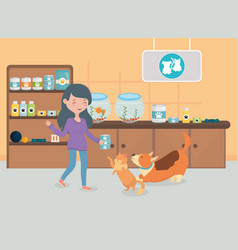Girl and cat dog food room vet pet care vector