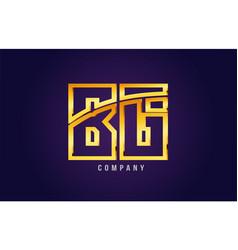 gold golden alphabet letter bg b g logo vector image