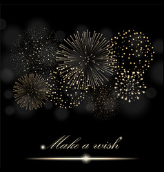Golden firework show on ambient black blurred vector