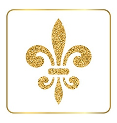 Golden fleur-de-lis heraldic emblem 2 vector