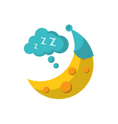 Half moon with hat sleeping flat icon image vector