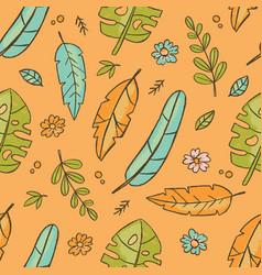 hand drawn leaves orange tropical grunge style sea vector image