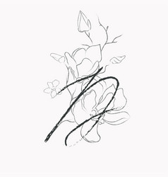 Handwritten line drawing floral logo monogram d vector