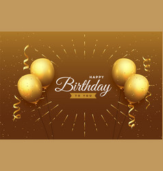 Happy birthday celebration background in golden vector