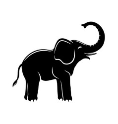 Happy black elephant vector