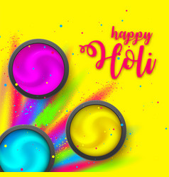 happy holi poster powder on yellow backdrop vector image