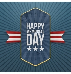 Happy Memorial Day textile Label and Ribbon vector image