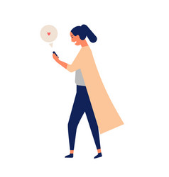 Happy young woman chatting or texting on vector