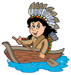 Indian in wooden boat vector