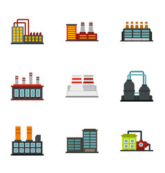 Industrial building icons set flat style vector