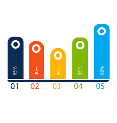 infographic five bar chart white background vector image