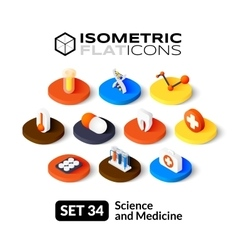 Isometric flat icons set 34 vector image