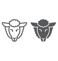 lamb god line and glyph icon jewish and animal vector image