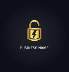 Lock safe bolt logo vector