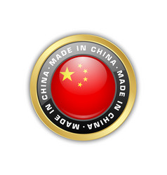 Made in china badge with chinese flag in circular vector