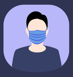 Man wearing hygienic mask to safety flat vector