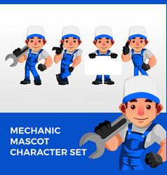 mechanic mascot character set logo icon vector image