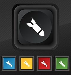 MissileRocket weapon icon symbol Set of five vector image