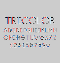 modern tricolor thin line font vector image