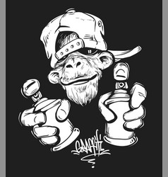 Monkey in cap holding a spray paint print design vector