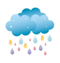 Nature fluffy cloud raining weather vector