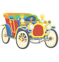 Old toy vintage car colorfully painted vector