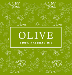 olive with leaves on green background seamless vector image