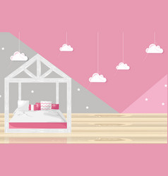 pink girl bedroom flat style modern trendy vector image