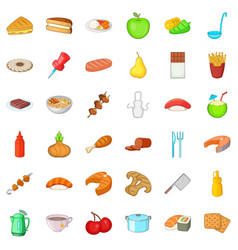 Plate icons set cartoon style vector